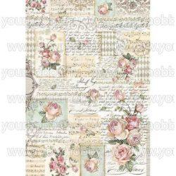 Stamperia Dekupázs rízspapír A3, Rózsa és kézírás DFSA3008