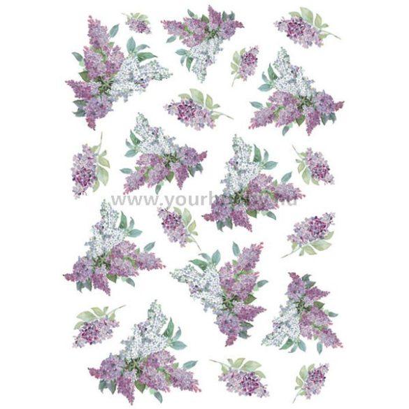 Stamperia Dekupázs rizspapír A4 Textúra lilaorgonákkal DFSA4106