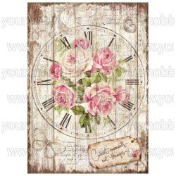 Stamperia Dekupázs rizspapír A4 Rózsás óralap DFSA4255