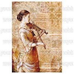 Dekupázs  rizspapír hegedűs hölgy DFSA4269