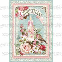 Stamperia Dekupázs rizspapír A4 Karácsonyi gyertya DFSA4315