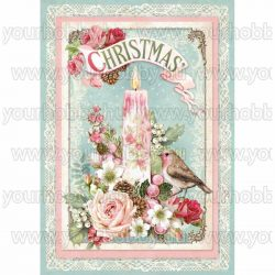Stamperia dekupázs rizspapír A/4 Pink karácsonyi gyertya