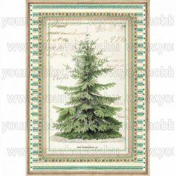 Stamperia dekupázs rizspapír A/4 Téli botanikus fenyőfa