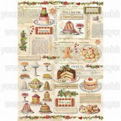 Stamperia Dekupázs rízspapír, Karácsonyi édességek DFSA4329