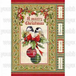 Stamperia dekupázs rizspapír A/4 Vintage karácsonyi madarak és gömbök