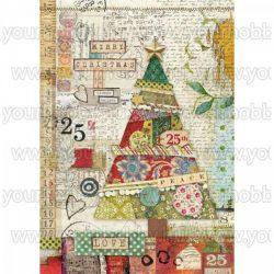Stamperia Dekupázs rizspapír A4 Patchwork fa DFSA4406