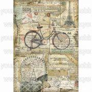 Stamperia Dekupázs rizspapír A4 Bicikli DFSA4458