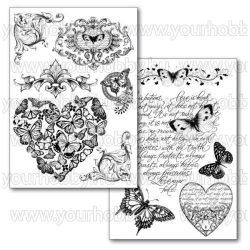 Transzfer papír A4 - Szivek, frízek és pillangók