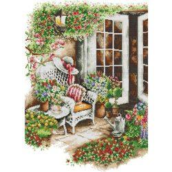 Keresztszemes készlet, Virágos terasz 44x58 cm