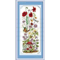Keresztszemes készlet, Mezei virágok 22x54 cm