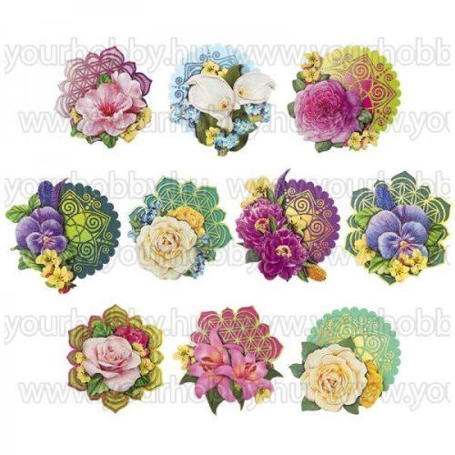 3D motívumok, Virágok a szerelem és az élet 10db 8-9,5 cm