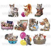 3D motívumok, Aranyos macskák 10db 6,5-9,2 cm
