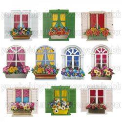 3D Motívumok Ablakok és virágládák 7-10 cm 10 db