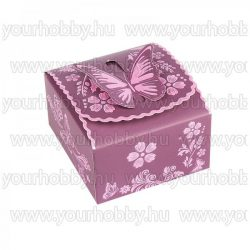 Hajtogatható papírdoboz, padlizsán, rózsaszín, gyöngyház bevonat 7x7,5x4 cm