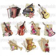 3Dmotívumok Hangszerek 10 db 6,5-11 cm