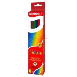 """Színes ceruza készlet hatszögletű KORES """"Hexagonal"""" 6 különböző szín"""