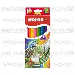 Akvarell ceruza készlet, hegyezővel, ecsettel, KORES, 12 különböző szín