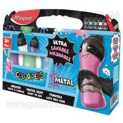 """Tempera, palackos, 5x75 ml, """"ultra-washable"""", MAPED, metál színek"""