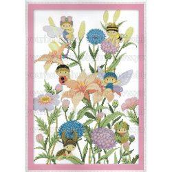 Keresztszemes készlet, Méhecskék búzavirágon 36x51 cm