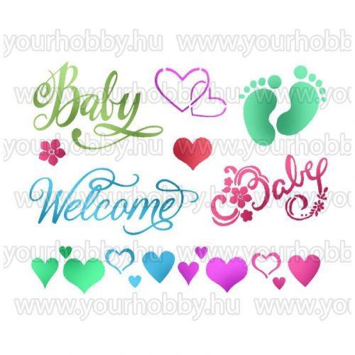 Stamperia Stencil 20x15 cm Baby welcome KSD295