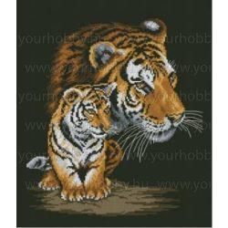 Keresztszsemes készlet, Tigris és kölyke 40x50 cm