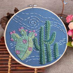 Hímzőrámás készlet, Kaktuszok 20x20 cm, 2 öltésfajta