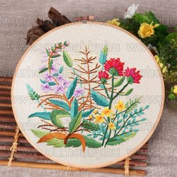Hímzőrámás készlet, Mezei virágok 20x20 cm, 3 öltésfajta