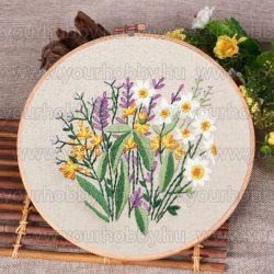 Hímzőrámás készlet, Virágok I., 20x20 cm 4 öltésfajta