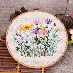 Hímzőrámás készlet, Virágok II.,20x20 cm 5 öltésfajta