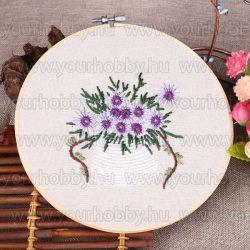 Hímzőrámás készlet, Virágok fehér kaspóban 20x20 cm, 4 öltésfajta