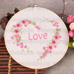 Hímzőkészlet bambusz rámával, Rózsaszív 20x20 cm