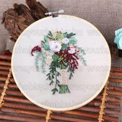Hímzőrámás készlet, Virágcsokor 20x20 cm, 6 öltésfajta
