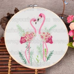 Hímzőrámás készlet, Flamingók 20x20 cm, 5 öltésfajta