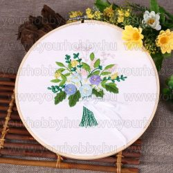 Hímzőrámás készlet, Virágcsokor fehér szalaggal, 20x20 cm, 6 öltésfajta