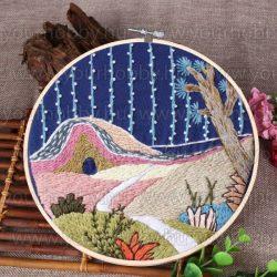 Hímzőráma készlet, Rózsaszín domb 25cm, 7 öltésfajta