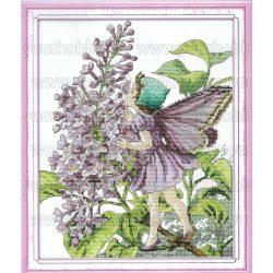 Keresztszemes készlet, Orgonatündérke 31x36 cm