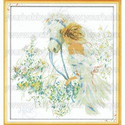 Keresztszemes készlet, Hölgy és fehér ló 46x50 cm