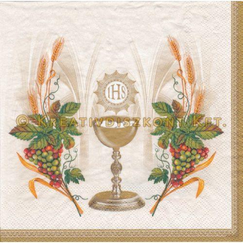 Szalvéta Áldozati kehely szőlővel és búzával
