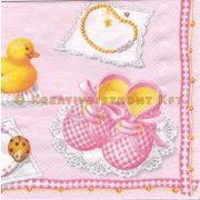 Szalvéta Rózsaszín babacipő