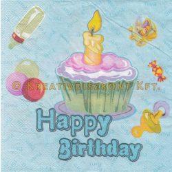 """Szalvéta, Családi események , """"Happy Birthday"""" baba szalvéta"""
