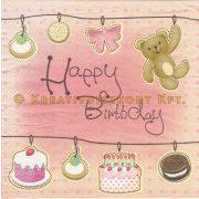 """Szalvéta """"Happy Birthday"""" rózsaszín babazsúros"""