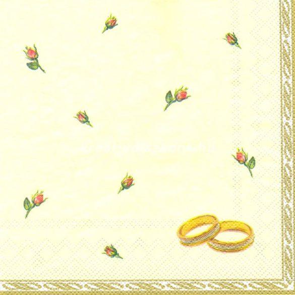 Szalvéta Eljegyzési gyűrűk rózsákkal sárga alapon