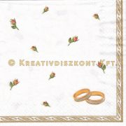 Szalvéta Eljegyzési gyűrűk rózsákkal fehér alapon