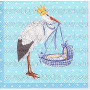 Szalvéta Gólya bölcsővel 'kék'