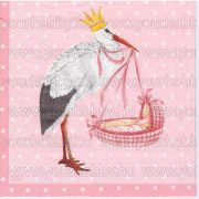 Szalvéta Gólya bölcsővel 'rózsaszín'