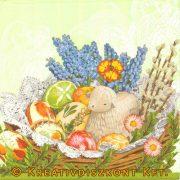 Szalvéta Húsvét - Húsvéti kosár báránykával