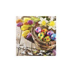Szalvéta Húsvét - Színes húsvéti tojások virágokkal