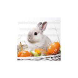 Szalvéta Húsvét - Fehér nyuszi tojásokkal