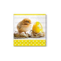 Szalvéta Húsvét - Kiscsibe  tojás mellett