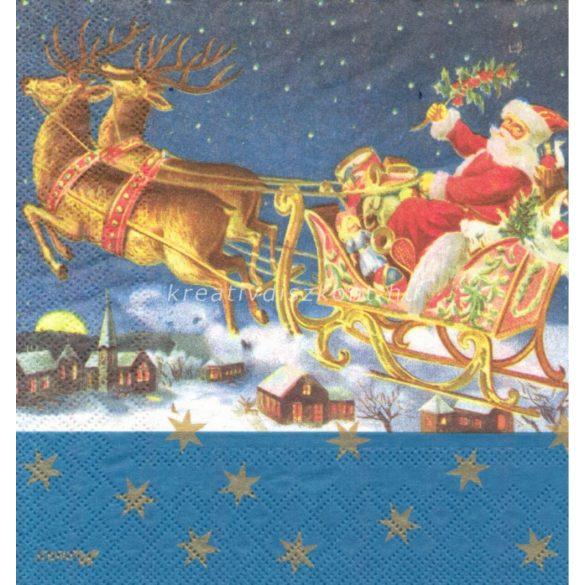 Szalvéta, Karácsonyi , Télapó szánnal